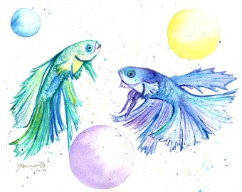 Betta Fish original watercolor painting, betta art, nursery decor, kids room art, kauai fine art, ocean, baby room, whimscial fish, kauai