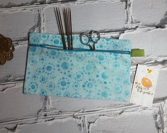 Blue Dot Batik Pencil Case, Knitting and Crochet Notions Pouch