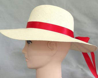Ivory Straw Hat, Wide Brimmed Summer Hat with Multiple Ribbons
