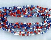 3 Strands Red, White & Blue Temporarily Strung Seed Bead Strand - Reduced Price