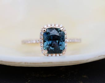 Teal sapphire engagement ring. 2.51ct emerald cut blue green sapphire ring diamond ring 14k Rose gold ring by Eidelprecious