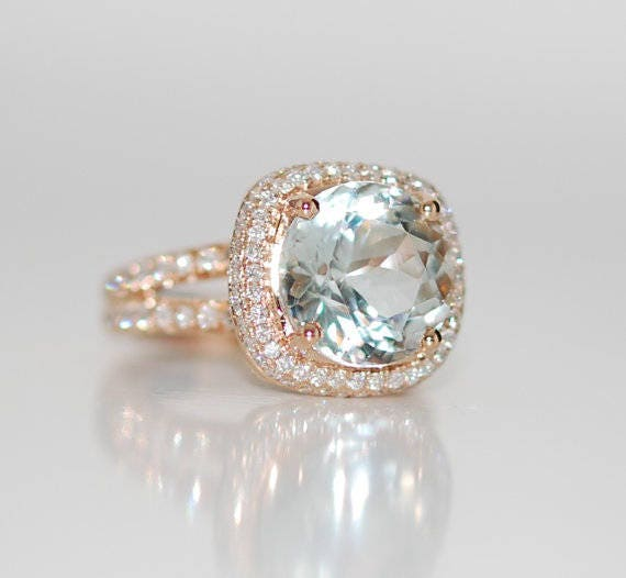 Aquamarine ring. 18k Rose gold Engagement Ring. GIA certified green blue aqua. Cushion engagement ring by Eidelprecious
