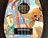 NEW INDIGO SEAS Hand-Collaged Makala Ukulele, Hawaii, Tropical, Playable Art, Collage, Flower, Ocean, Surf, Surf Art