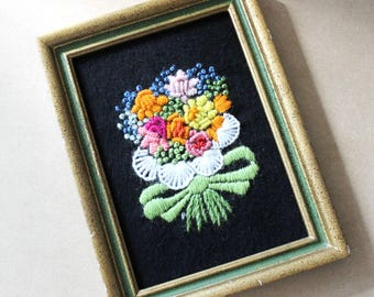 Summer flowers bouquet, vintage crewel needlepoint picture.