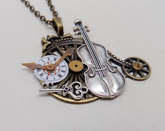 Steampunk jewelry. Steampunk bicycle necklace pendant.
