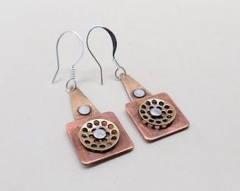 Steampunk jewelry,mixed metal earrings.