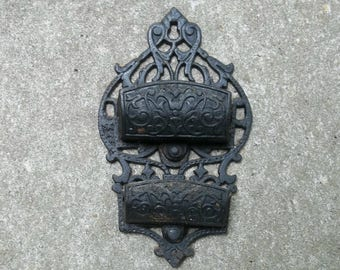 Antique Cast Iron Match Holder Hanging Match Holder Fireplace Accessory