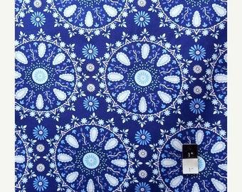 CLEARANCE SALE Dena Designs LIDF005 Sunshine Circle Medallion Navy Linen Fabric 1 Yd