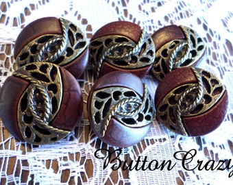 6 Fancy Brown and Gold VINTAGE Buttons 7/8 Inch