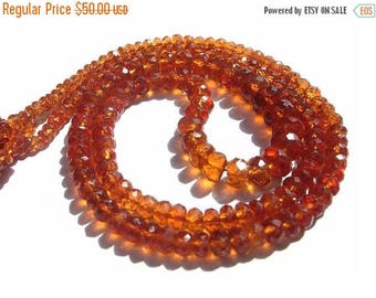 50% Off Sale 1/2 Strand 8 Inches AAA Genuine Hessonite Garnet Micro Faceted Rondelles Size 2.5 - 6mm approx