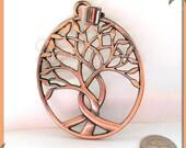 1 Large Copper Tree Pendant, Tree of Life Pendant, Copper Tone Tree, Copper Tree, Large Tree Pendant with Bail, 80mm