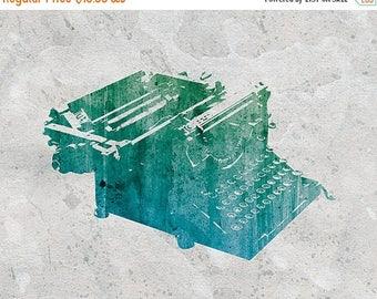 50% Off Summer Sale - Typewriter Art Print - 8x10 - Antique Vintage Typewriter - Blue Green Grey
