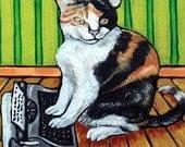 25% off cat tile - cat art - Cat Typing Animal Art Tile Coaster Gift JSCHMETZ modern FOLK  POP art, cat gifts, gift