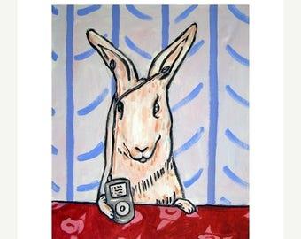 20 % off storewide Bunny LIstening to Music on an I-pod Rabbit Art Print