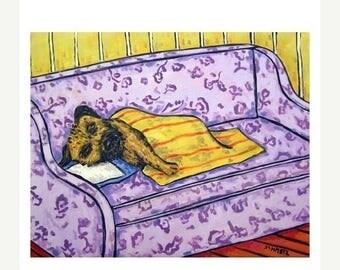 20 % off storewide Border Terrier Taking a Nap Dog Art Print  JSCHMETZ modern abstract folk pop art AMERICAN ART gift
