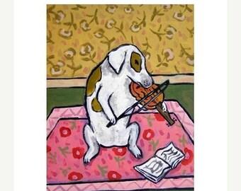 20% off Jack Russell Terrier Playing the Violin Dog Art Print  JSCHMETZ modern folk pop art