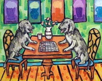 20% off Irish Wolfhounds Playing Checkers Dog Art TILE Coaster Gift JSCHMETZ modern abstract folk pop art american ART gift