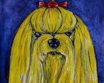 20% off Yellow yorkie yorkshire terrier artwork signed dog art print gift