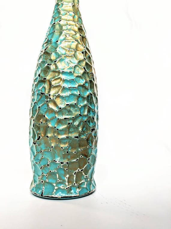 Turquoise and gold glass bottle hand painted Olive oil bottle 34 oz. glacier bottle with wire bail lid
