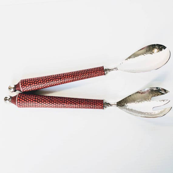 Salad servers hand painted metal and wood salad servers red black and silver salad server set