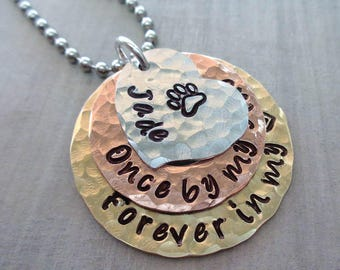 Pet Memorial Necklace Once by my side forever in my heart - Dog Cat memorial Hand-Stamped Washers - P3