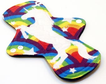 "Reusable Cloth Menstrual pad -9 inch OVERNIGHT flow -bamboo/cotton core - Windpro - cotton flannel top in ""Rainbow Unicorn"""