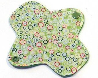 "6"" Ultrathin Reusable Cloth Pantyliner - winged - Quilter's Cotton top - Green Bubbles"
