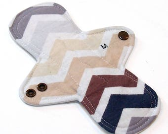 "8"" MODERATE flow Cloth Menstrual pad or pantyliner -bamboo/organic cotton core- PUL - Quilter's Cotton top - Earthen Chevron"