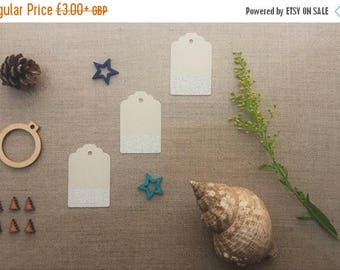 CLOSING DOWN SALE fancy gift tags - medium size pale grey with silver dip edge and silver thread