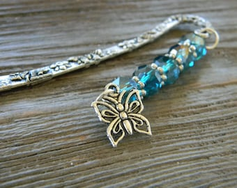 Butterfly Flower Bookmark with Aqua Blue Glass Beads Shepherd Hook Steel Bookmark Silver Color