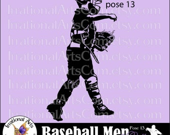 Baseball Men pose 13 Catcher Silhouette Vinyl Ready Images digital clipart graphics 1 EPS, 1 SVG & 1 PNG and Small Commercial License