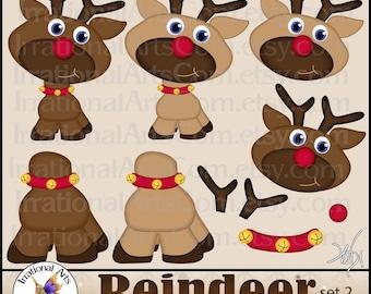 Reindeer set 2 with 11 PNG files digital scrapbooking Clip Art reindeer Christmas Rudolph jingle collar (Instant Download)