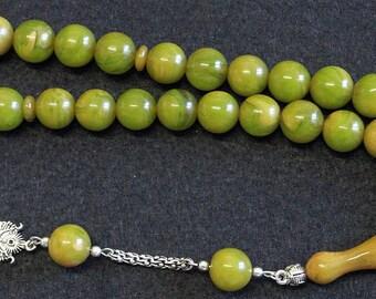 Prayer Beads Tesbih Marbled Yellow Green Modern Catalin & Sterling Silver