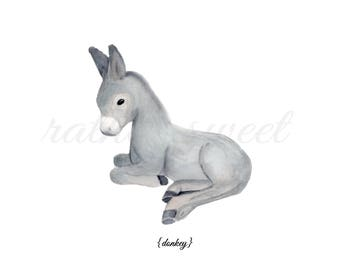 Farm Baby Donkey l Art Printable l Custom Color Choice l Watercolor Instant Art l Digital Download l Gender Neutral Nursery l Rural Decor
