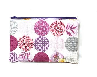 Cosmetic Case, Cord Case, Bridesmaid Gifts, All-Purpose Zipper Case, Kimono Gardens Light 9022
