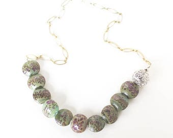 HALF PRICE SALE Earthy lampwork glass bead crystal statement necklace