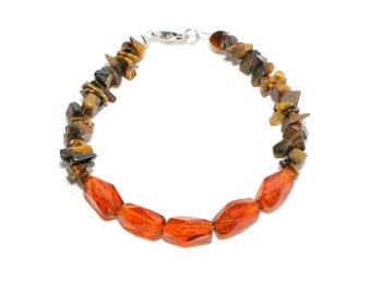Burnt orange glass and tiger eye chip stone beaded stacking bracelet