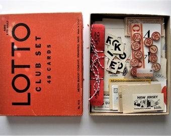 Vintage Ephemera Bonanza - Vintage Lotto Box Filled with Vintage Game Pieces and Other Treasures