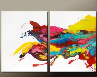 Abstract Canvas Art 2 pc Painting 60x40 Contemporary Original Diptych Wall Art by Destiny Womack -  dWo - Waves of Euphoria
