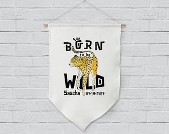 Personalized Wild Cheetah linen wall hanging art print for home decor, nursery decor, kids room decor or housewarming gift - Born to be Wild