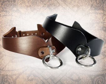 Curvy Leather Collar, Leather Bondage Collar, Leather Choker, Slave Collar, BDSM Collar, Leather Collar (1 Collar Only)