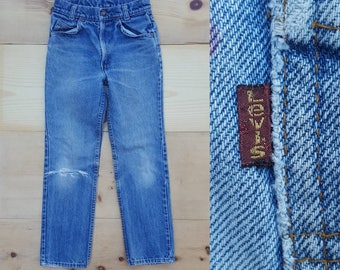 Vintage Kids Jeans  // Vtg 70s 80s Child Sized LEVI'S Made in the USA Distressed Faded Denim Jeans w/ Hole + Paint Stains