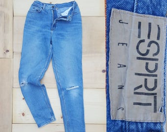 "Vintage ESPRIT Jeans  //  Vtg 90s Made in the USA Distressed Tapered Leg Stone Wash Denim Jeans w/ Holes  //  27"" waist"