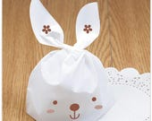 White Rabbit Plastic Bags. Bunny Ear. Gift. Cookie. Candy. Food. Snack.