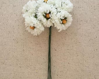 Fabric Millinery Flowers From Austria 6 White Ruffled Flowers A-5W