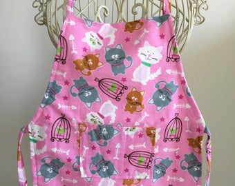 Full Body Apron Smock Children Youth Pink Kitten Cats Pockets