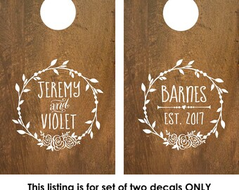 Cornhole Decal | Corn Hole Decal | Monogram Decal | Corn Hole Board | Corn hole decal wedding | rustic wedding decor