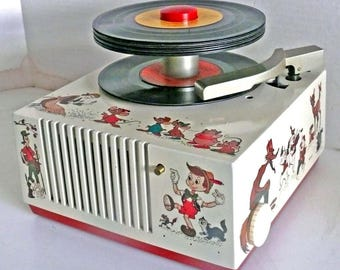 Vintage 9EY35 Disney 45rpm Record Player by RCA Restored W Warranty - Disney characters