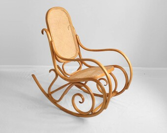 Exceptionnel Boho Chic Vintage BLONDE Bentwood U0026 Cane Rocking Chair