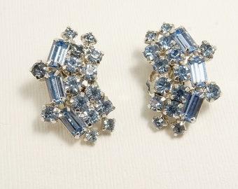 Vintage Kramer Blue Rhinestone Clip Earrings